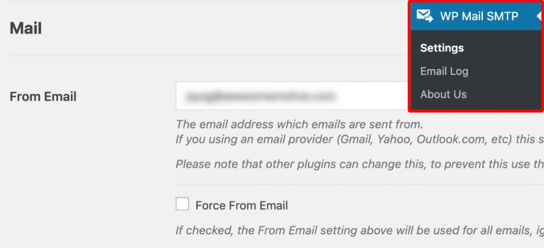 from email settings