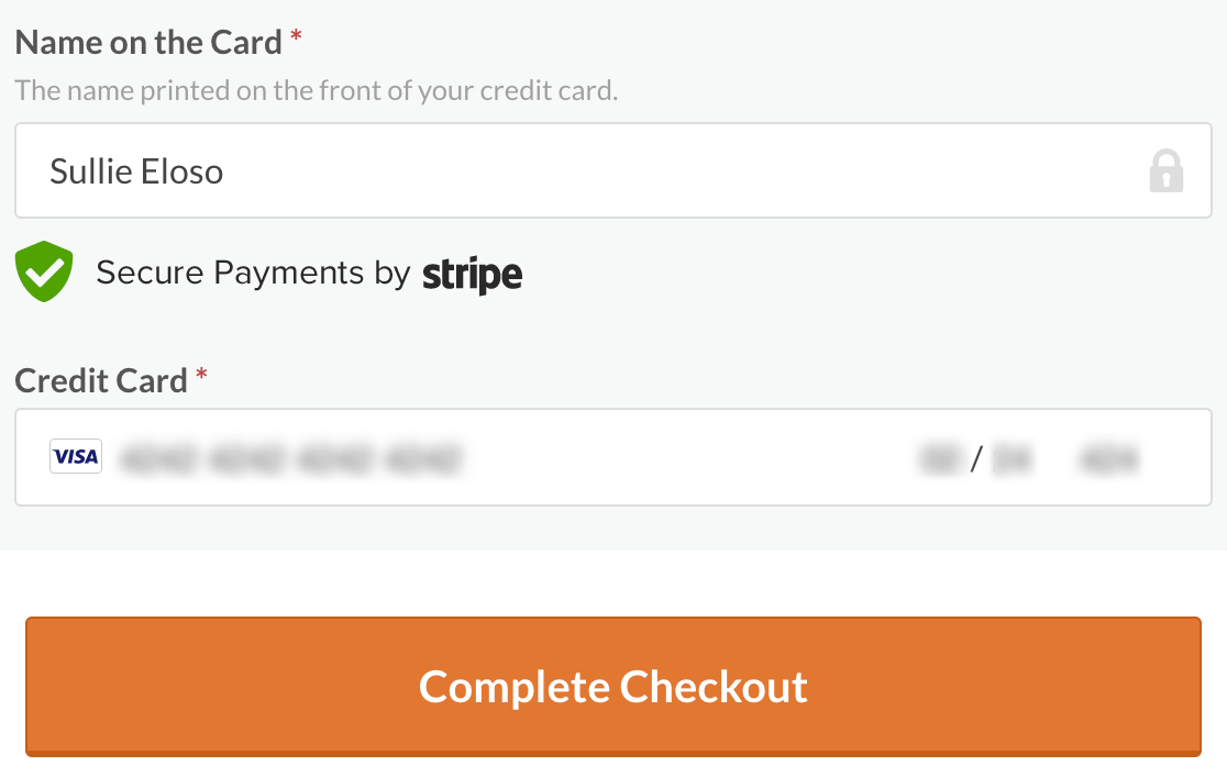 Completing the checkout process for WPForms