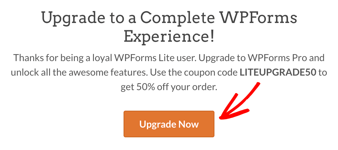 Upgrading from WPForms Lite to a paid license from the Upgrade page