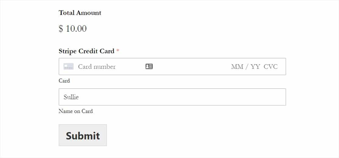 stripe credit card field