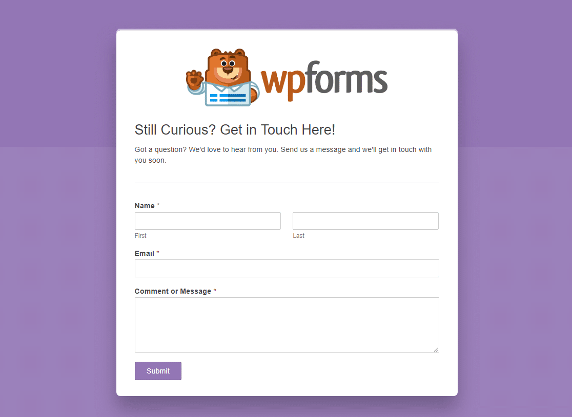 wpforms dedicated form landing page plugin