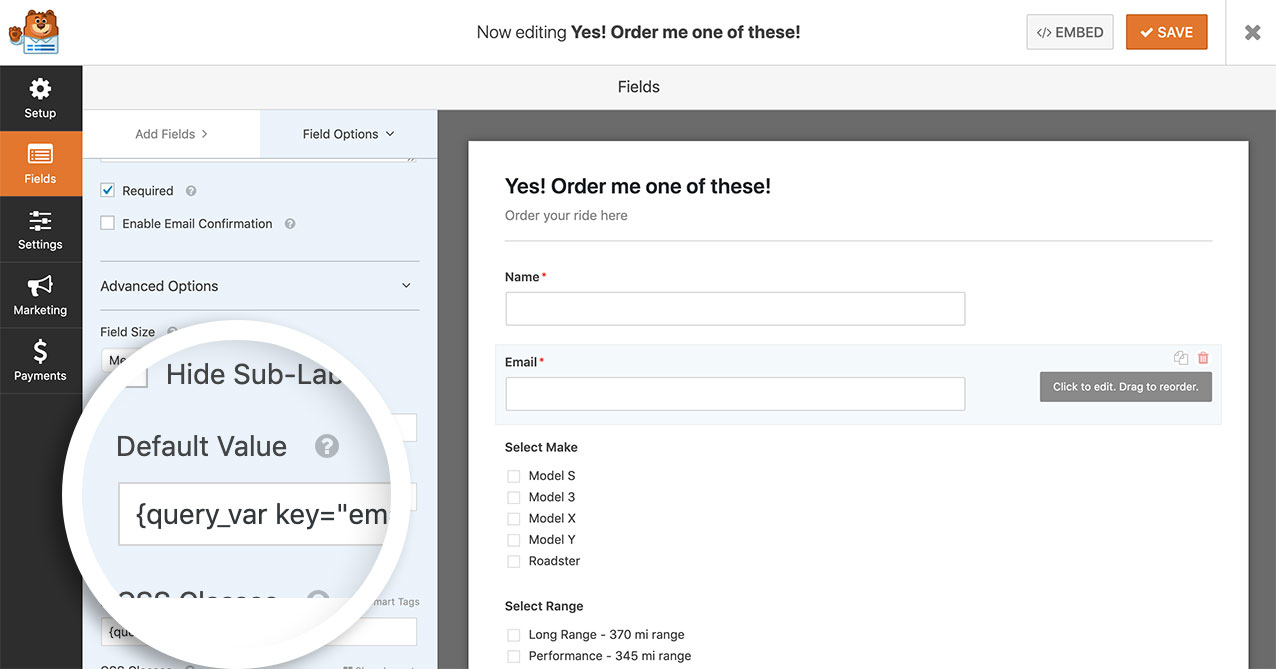 Add the query string to your Name form field Default section to accept the pre-populated information