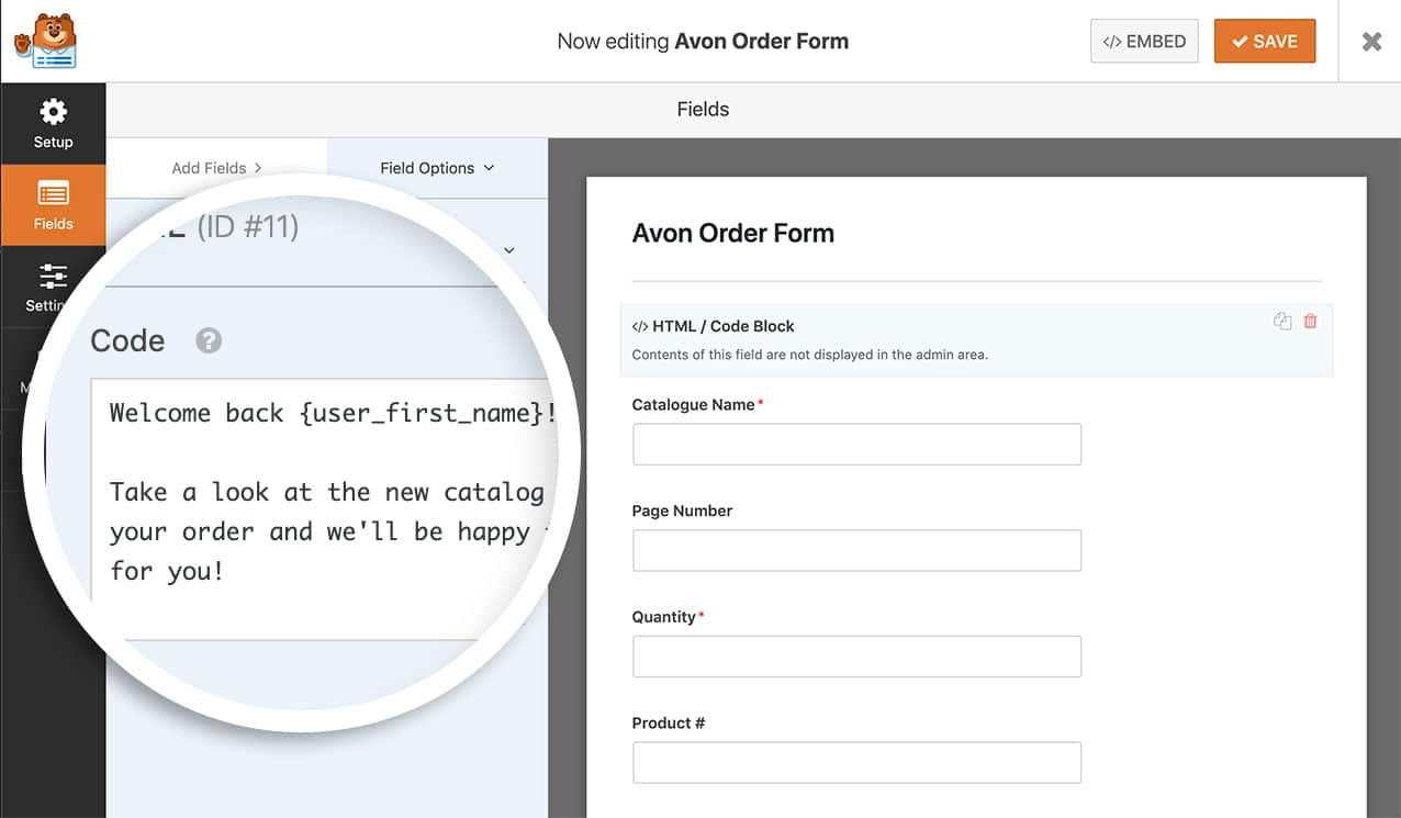 add the smart tag to the HTML form field