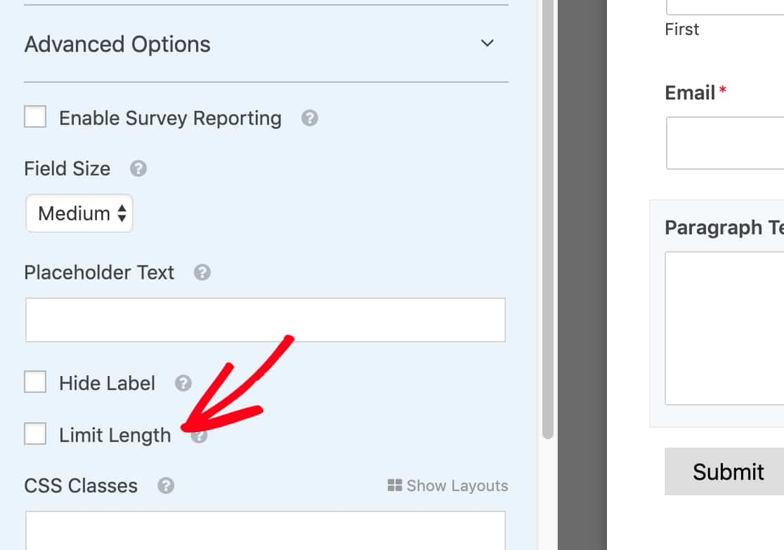 Click Limit Length checkbox in WPForms