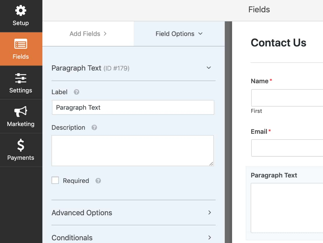 Field Options panel for Paragraph Text field
