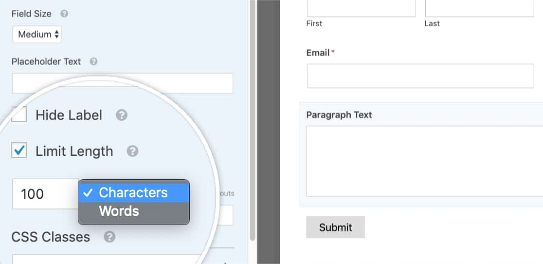 Set character or word count limit in WPForms