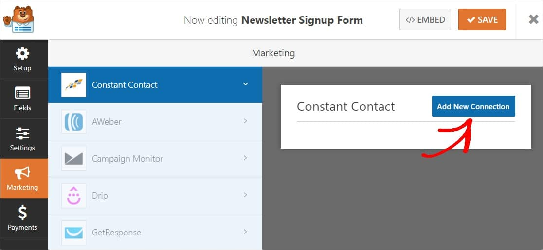 add new connection for constant contact