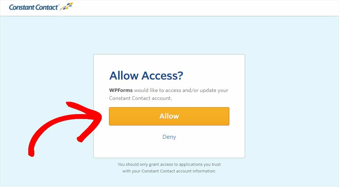 allow wpforms access to constant contact