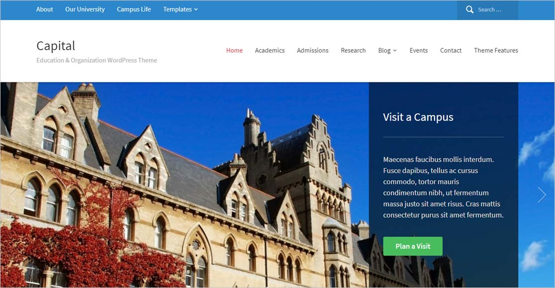 best education wordpress themes Capital