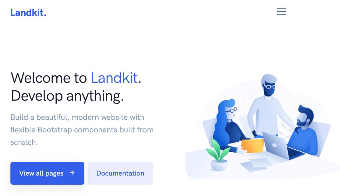 Landkit homepage