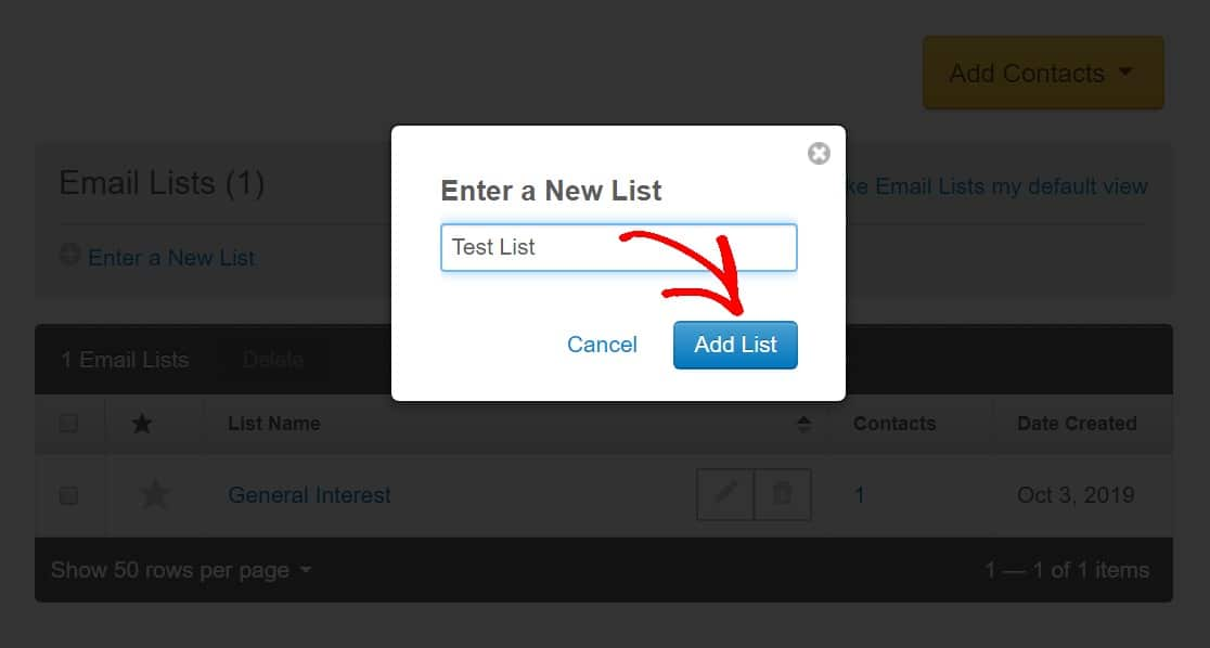 name your new email list