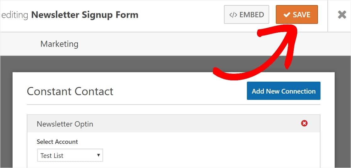 newsletter signup form save