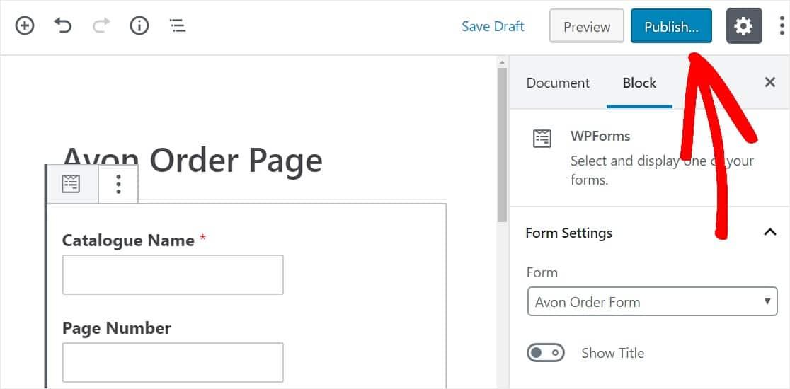 publish avon order page