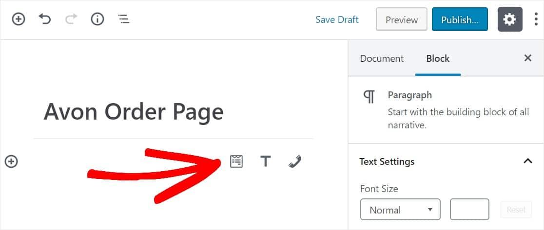 widget to insert form