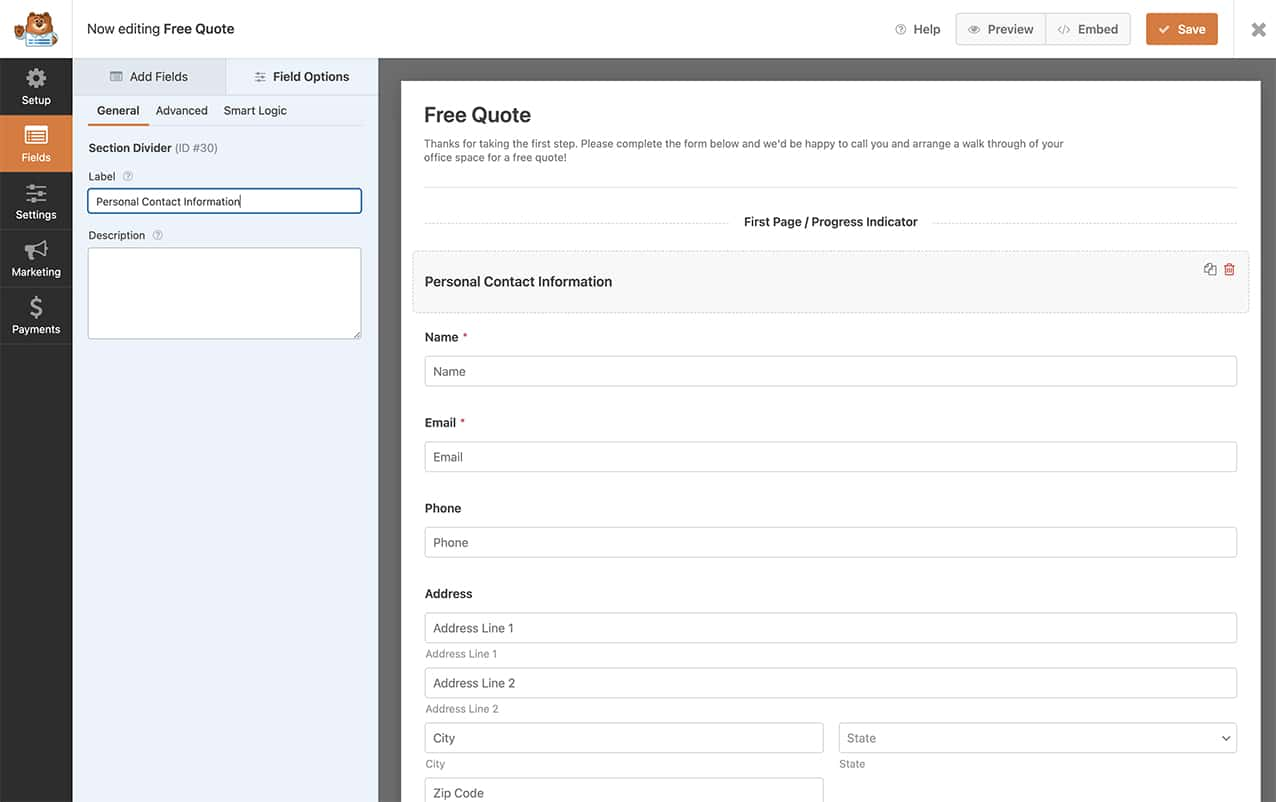create your form and add your section divider, page break and HTML form fields