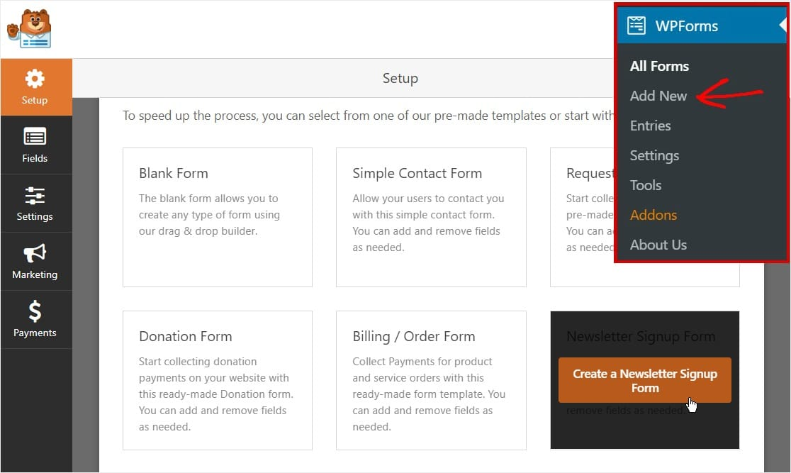 wpforms create new newsletter