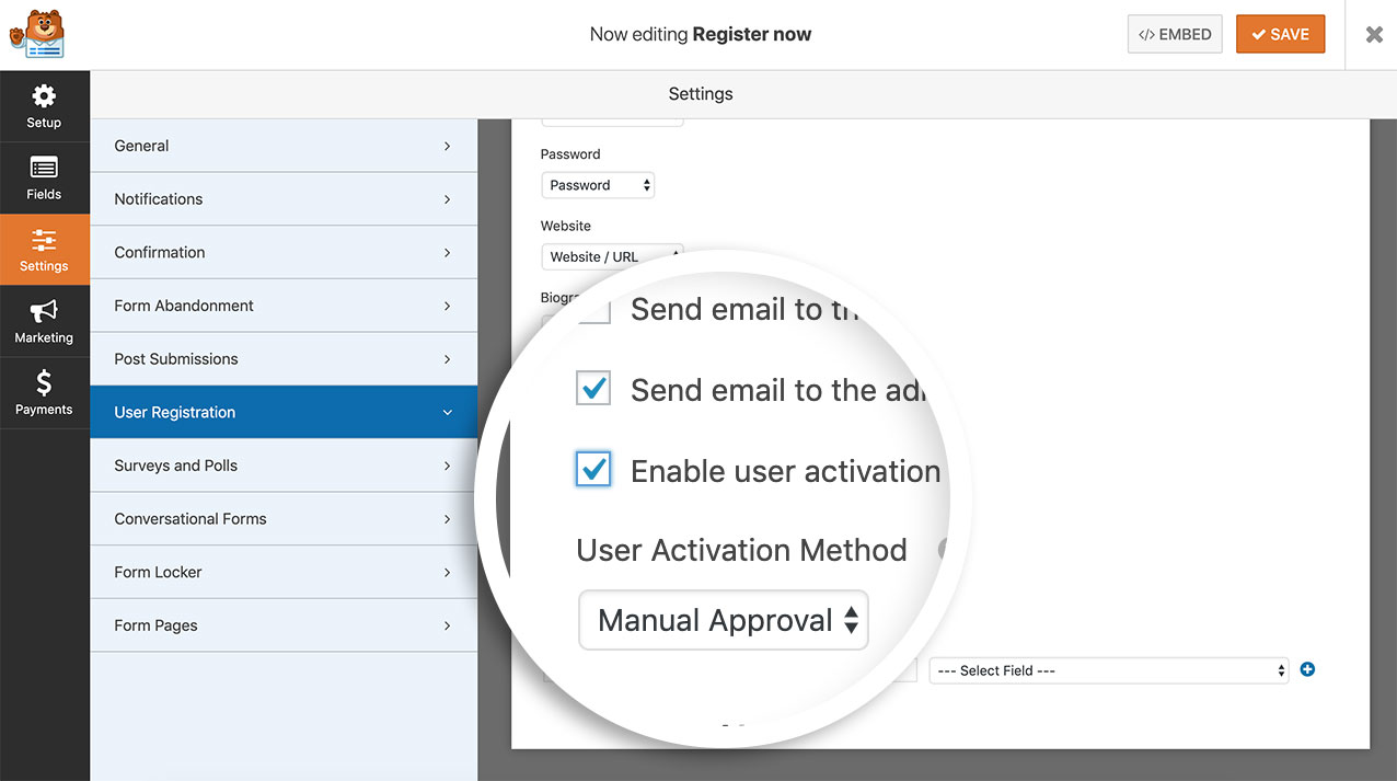 Enable manual activation on the user registration form
