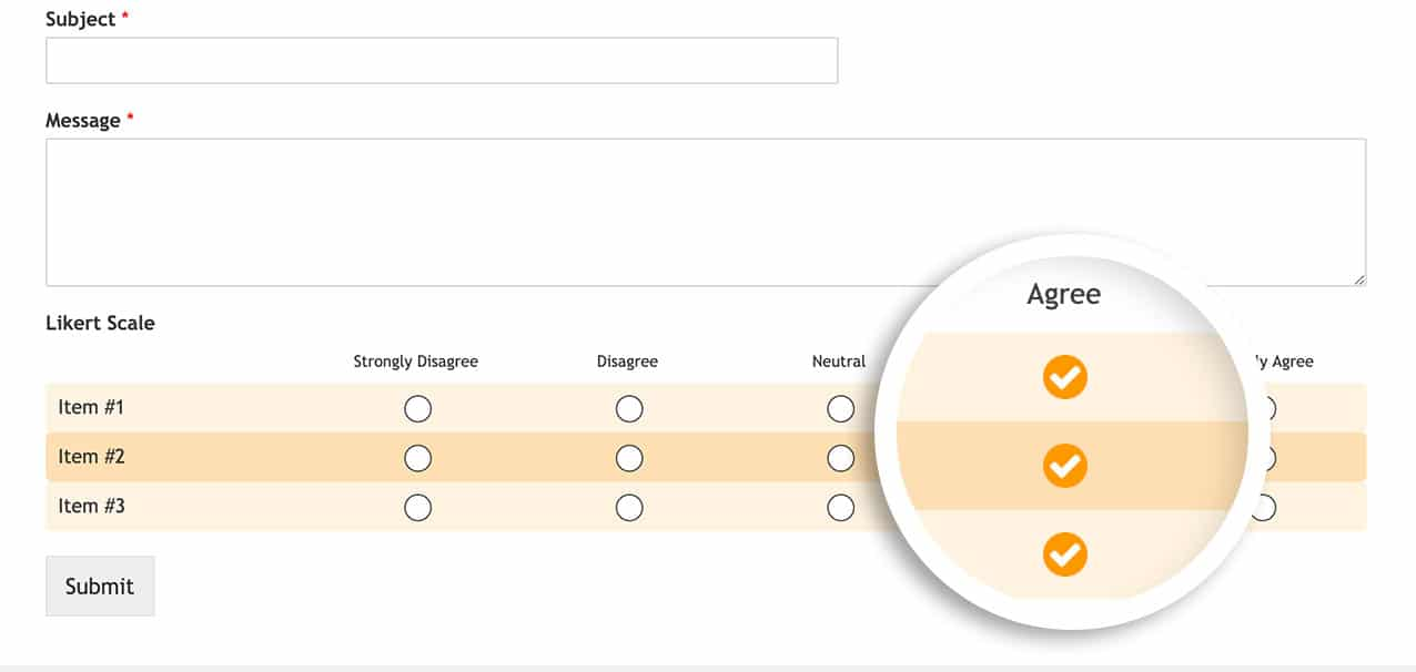 Customize likert scale with the above CSS on WPForms