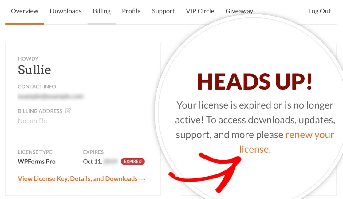 License renewal link on WPForms account main page