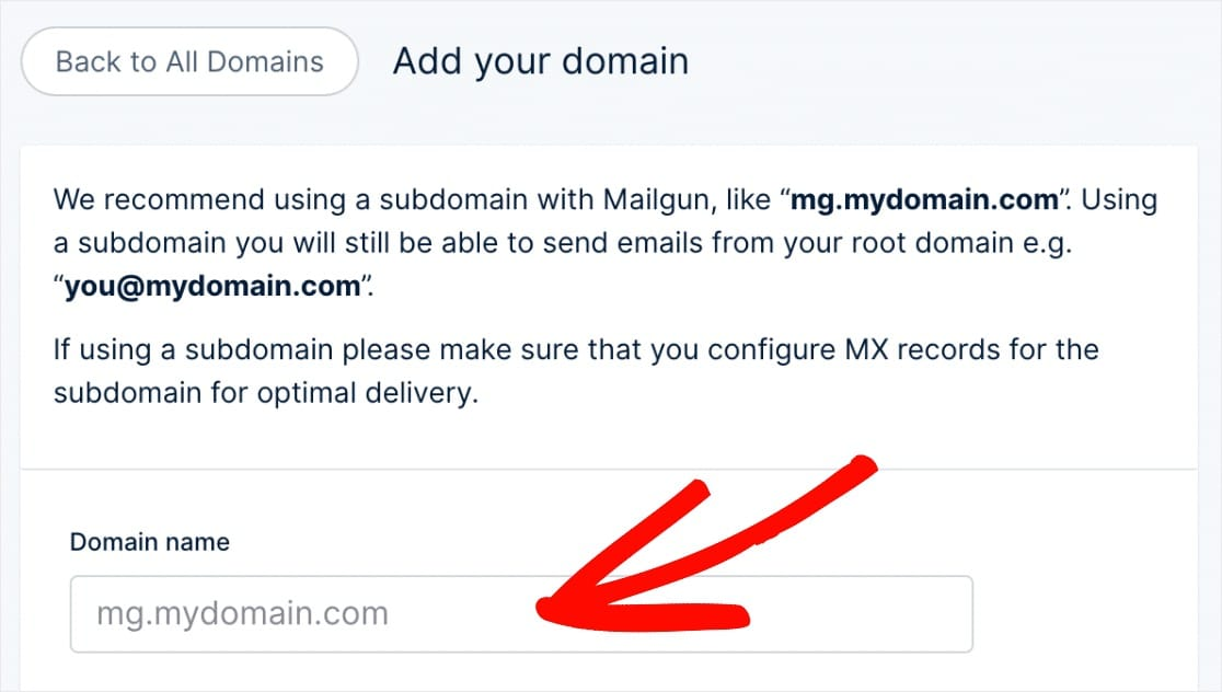 add domain to send mail with mailgun