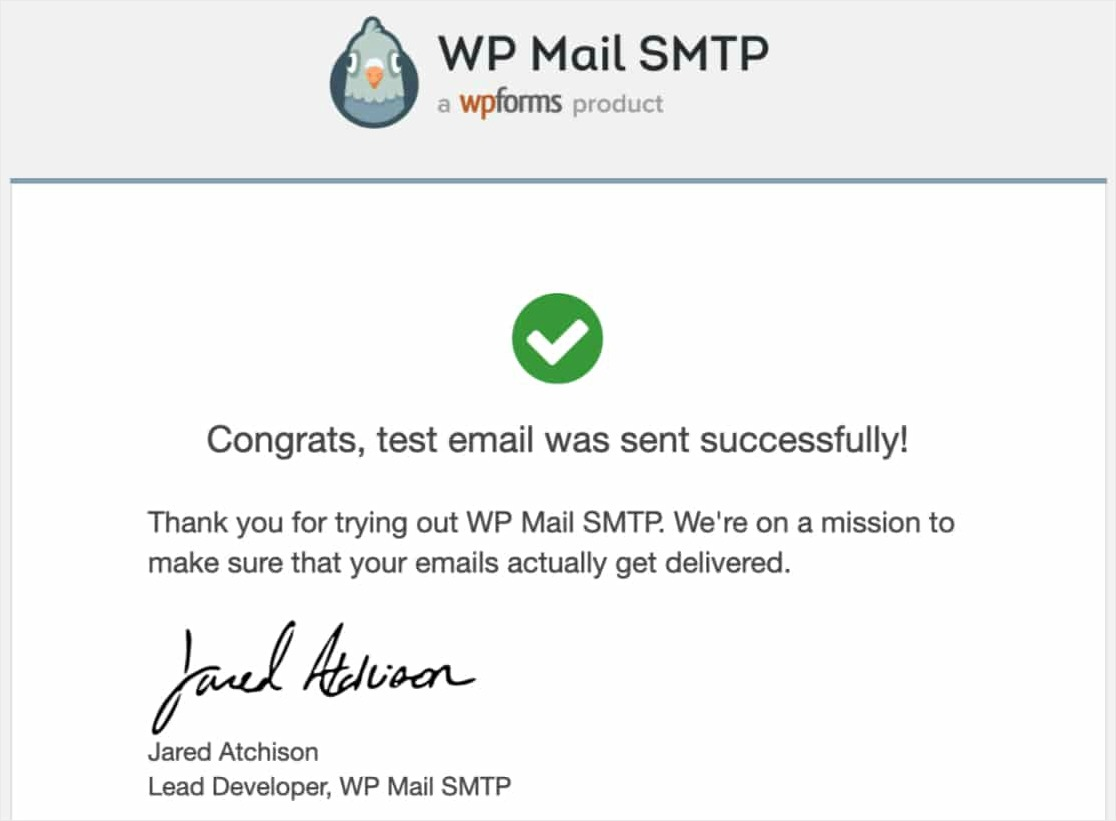 confirmation of successful test email send WordPress emails with Mailgun