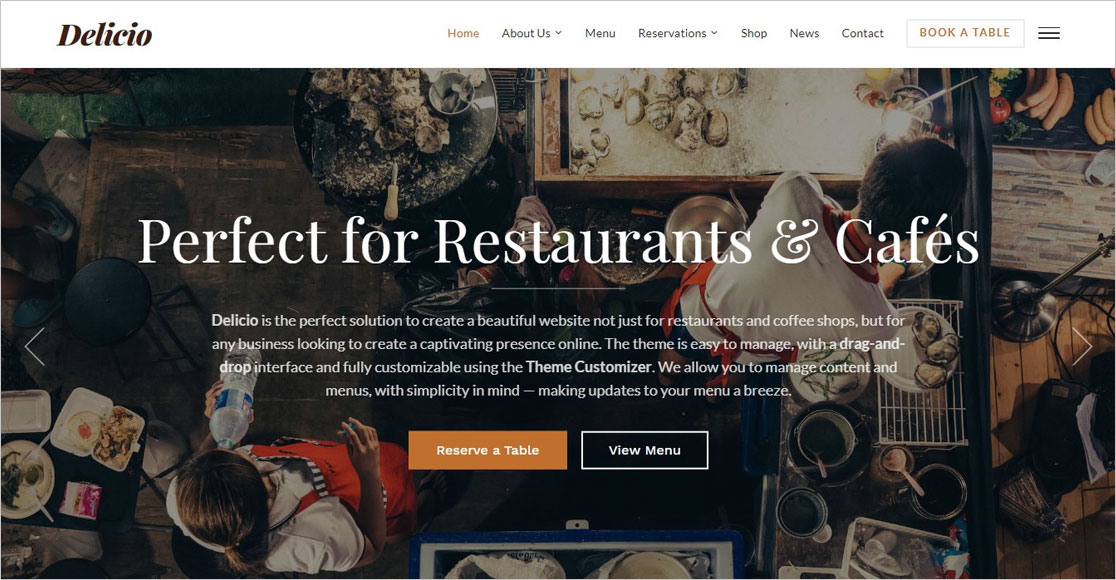 Delicio best wordpress restaurant themes