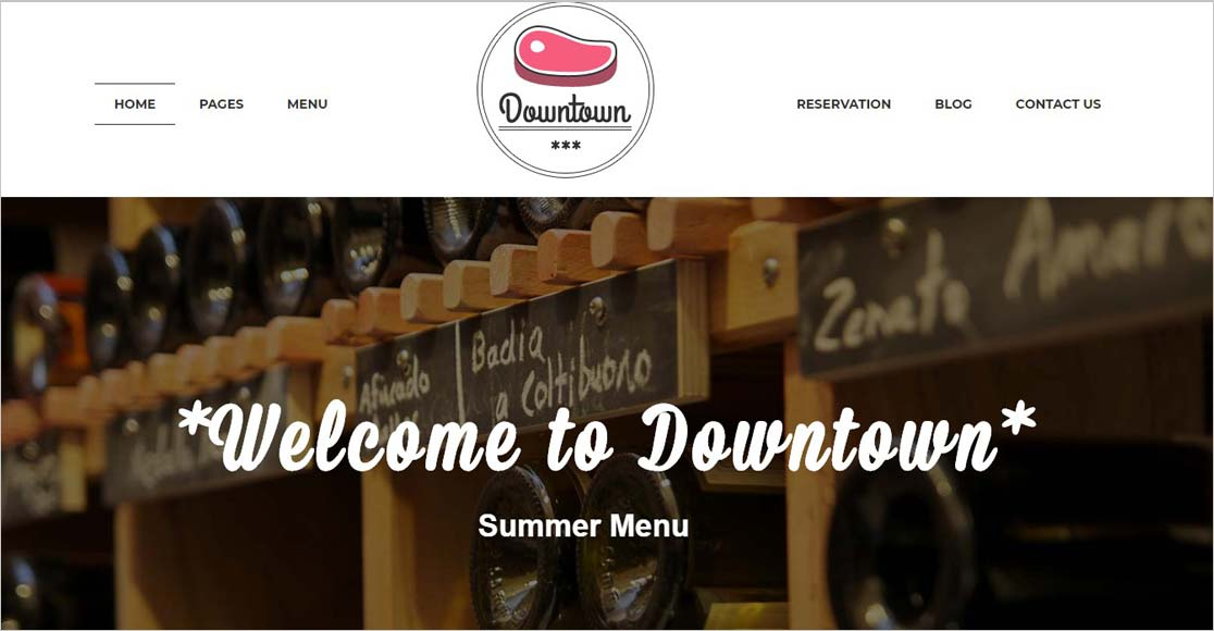 Downtown best wordpress restaurant themes