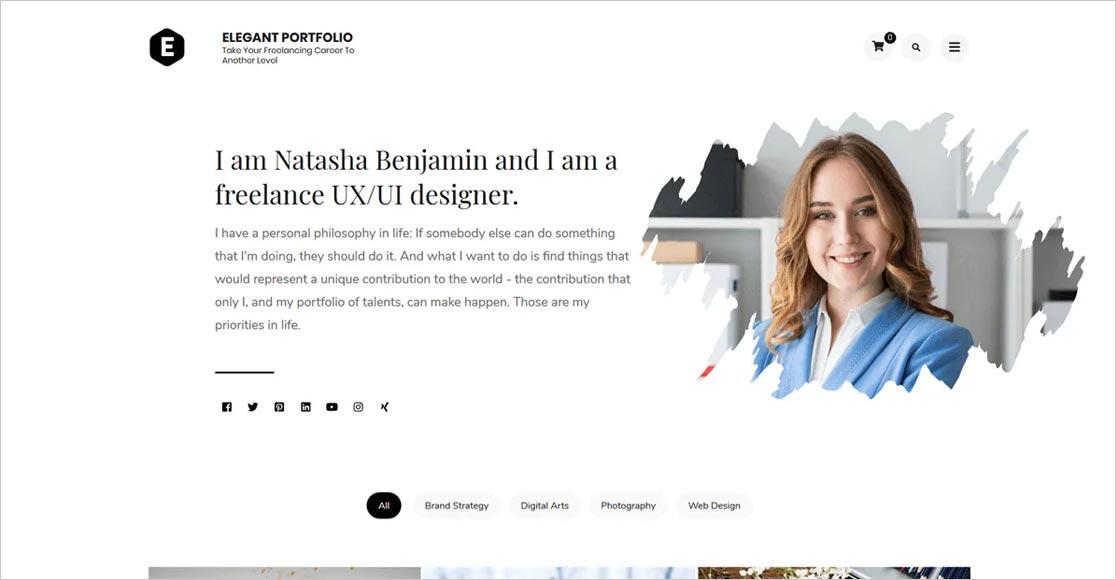 Elegant Portfolio Free WordPress Freelance Writers Theme