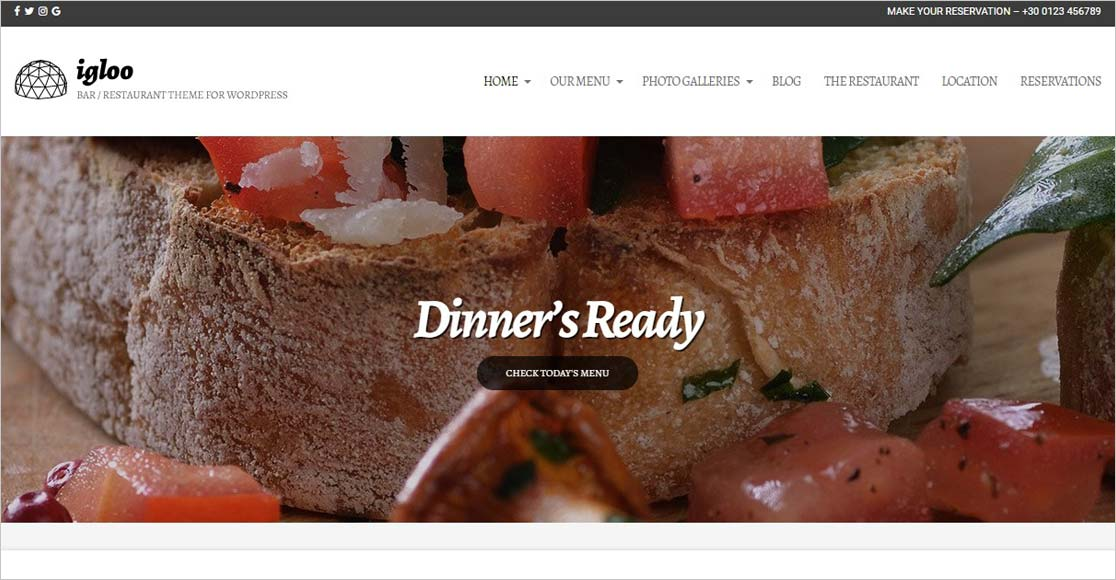 Igloo best wordpress restaurant themes