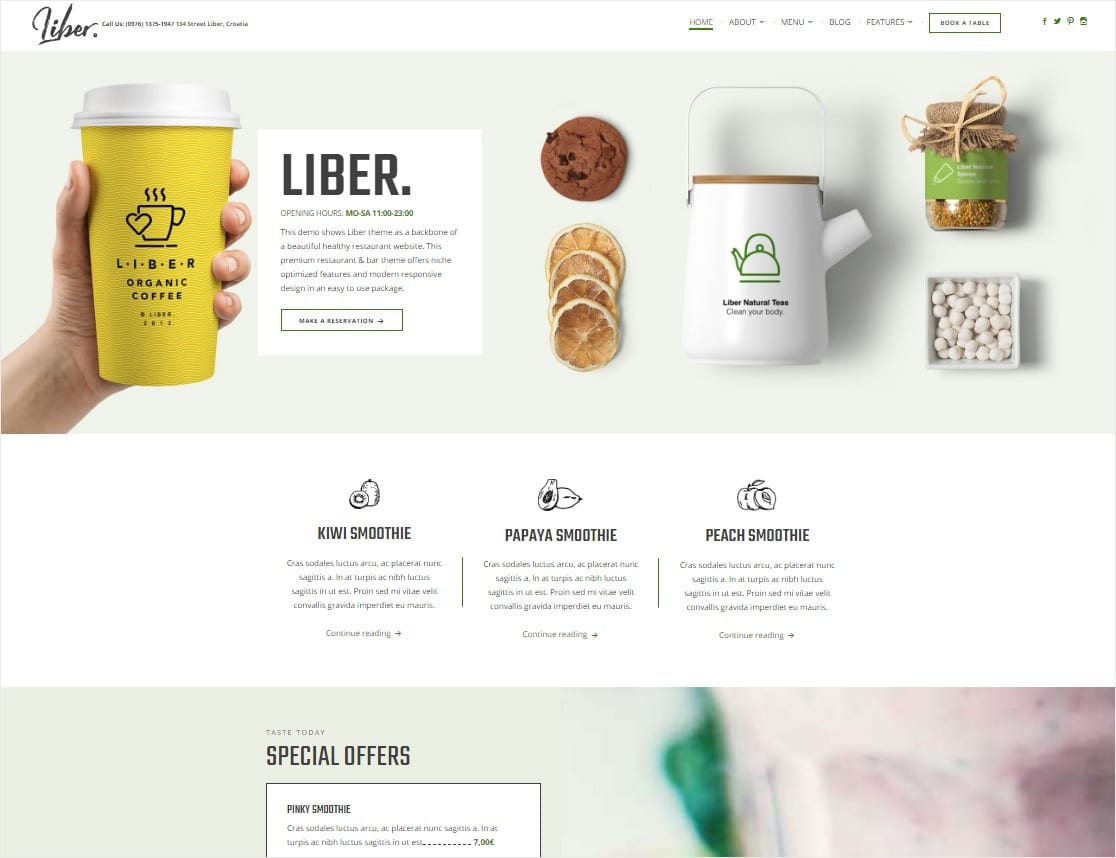 liber best restaurant theme for wordpress