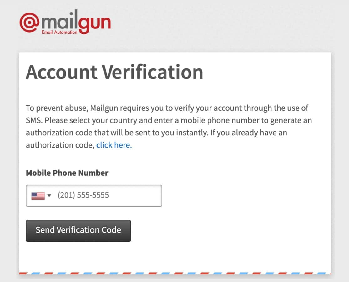 mailgun account verification screen send WordPress emails with Mailgun