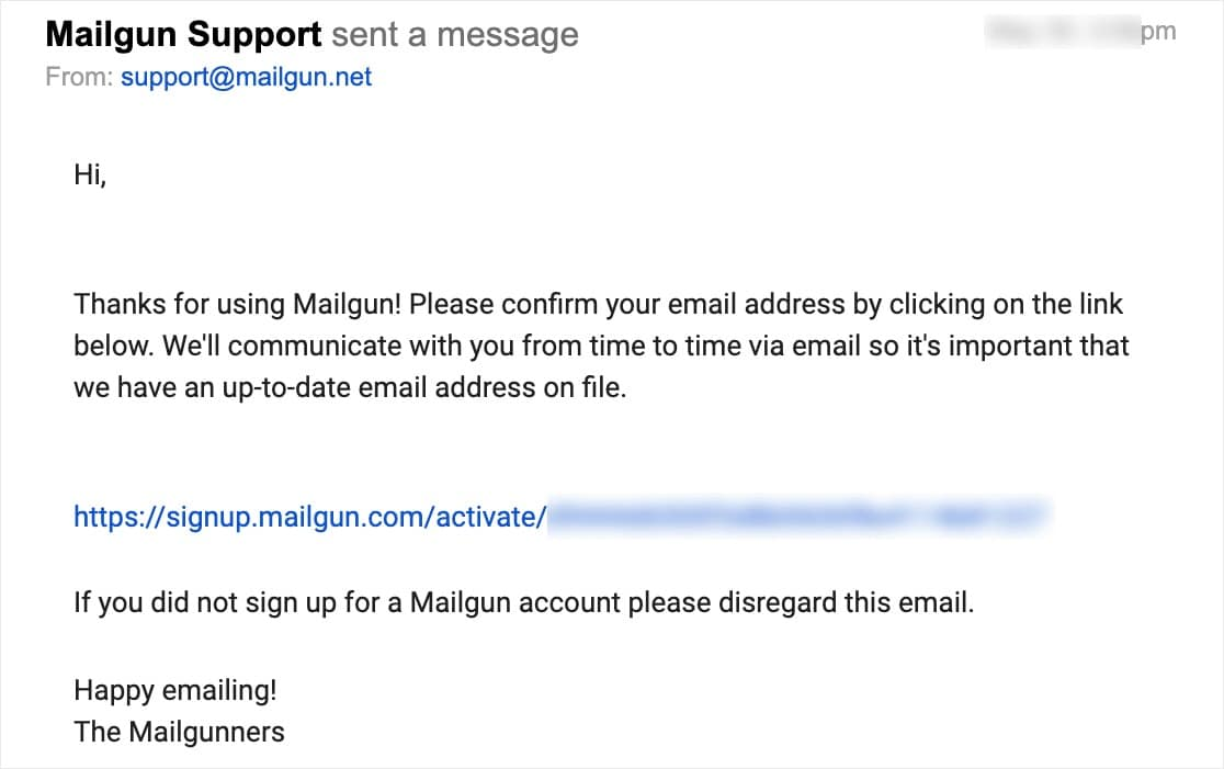 mailgun support message
