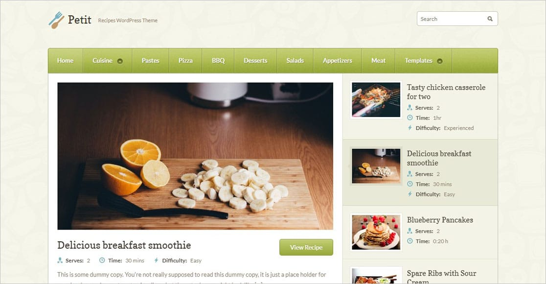 Petit best wordpress restaurant themes