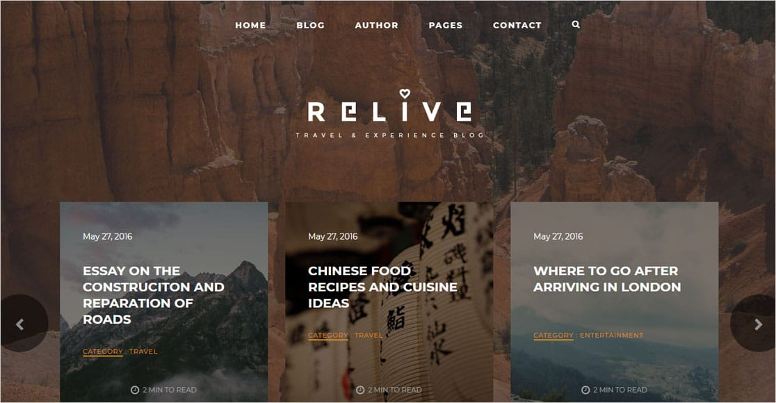 Relive best wordpress themes for authors