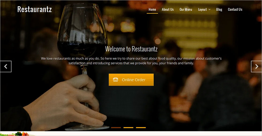 Restaurantz best wordpress restaurant themes