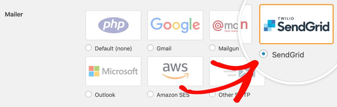 select the sendgrid mailer option in settings