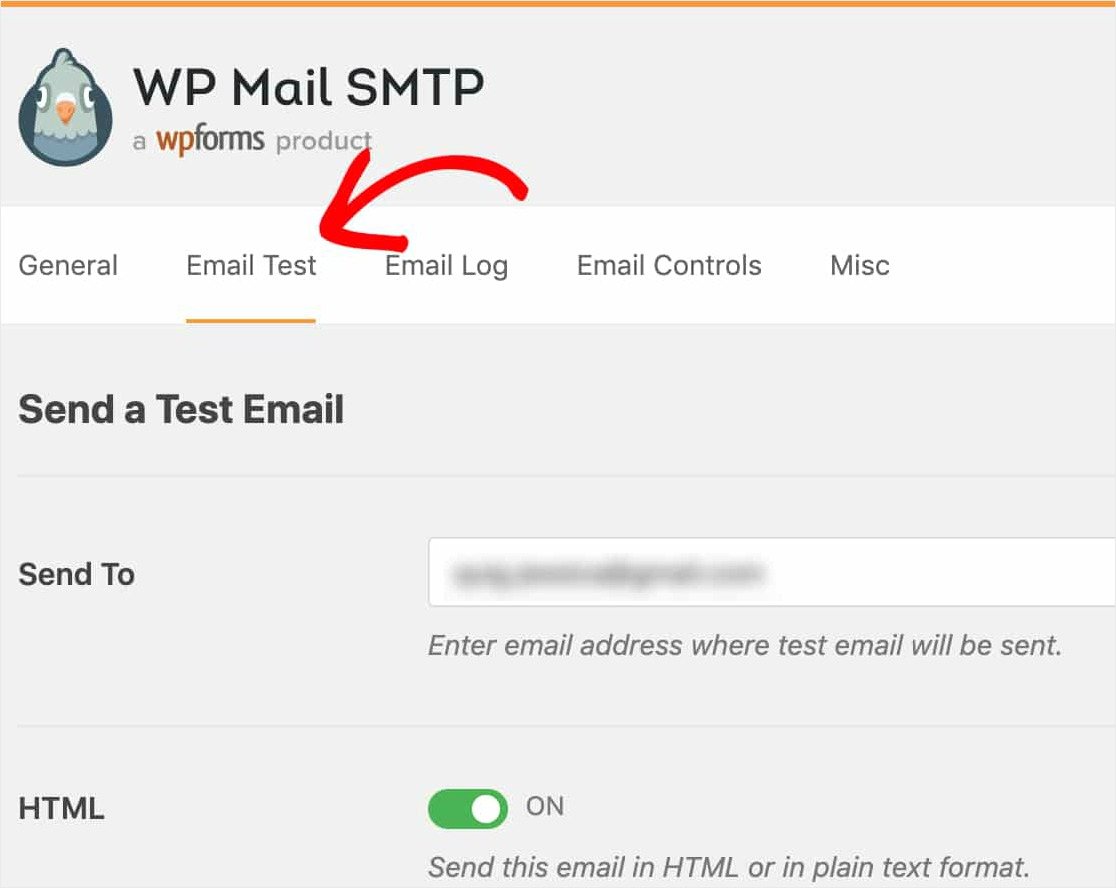 send test email in wp mail smtp