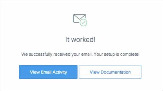 sendgrid success message