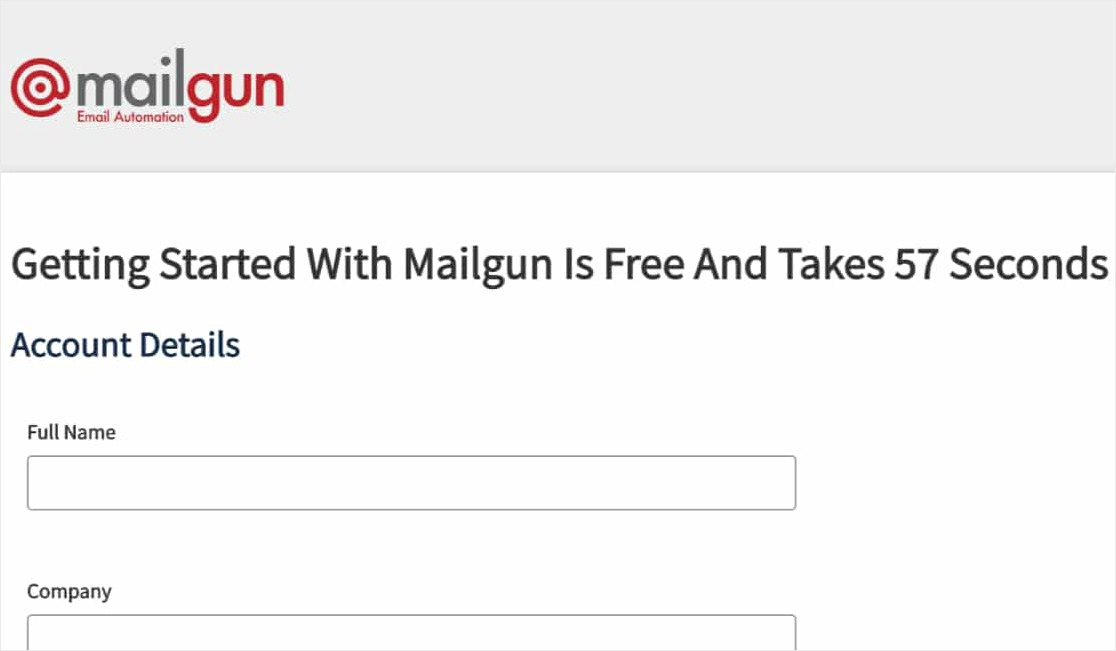 sign up for a mailgun account page
