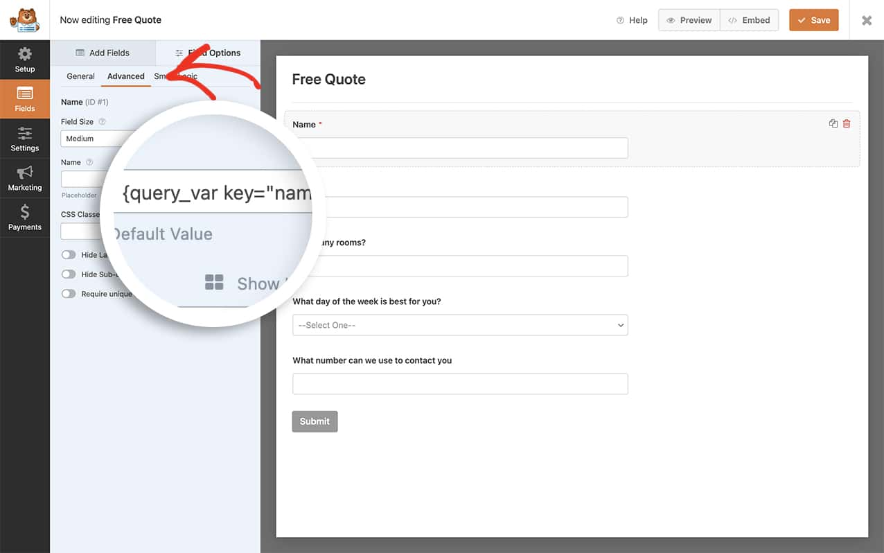 Add the query string to your name form field in the default field to accept the pre-populated information
