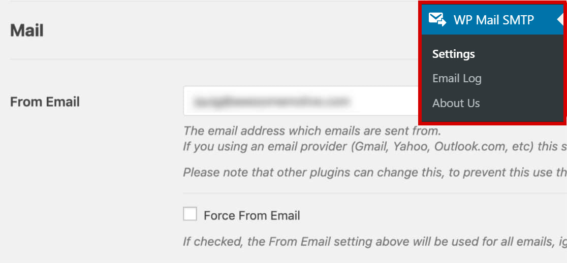 wpmailsmtp plugin settings in dashboard