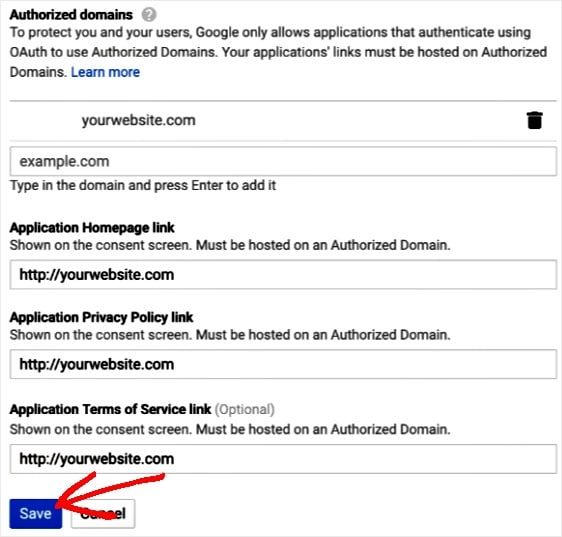 add authorized domain info
