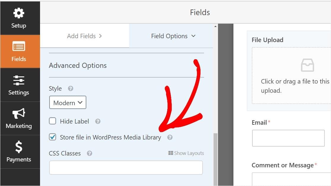 WPForms - caricamento file, indicare di salvare nella WordPress Media Library