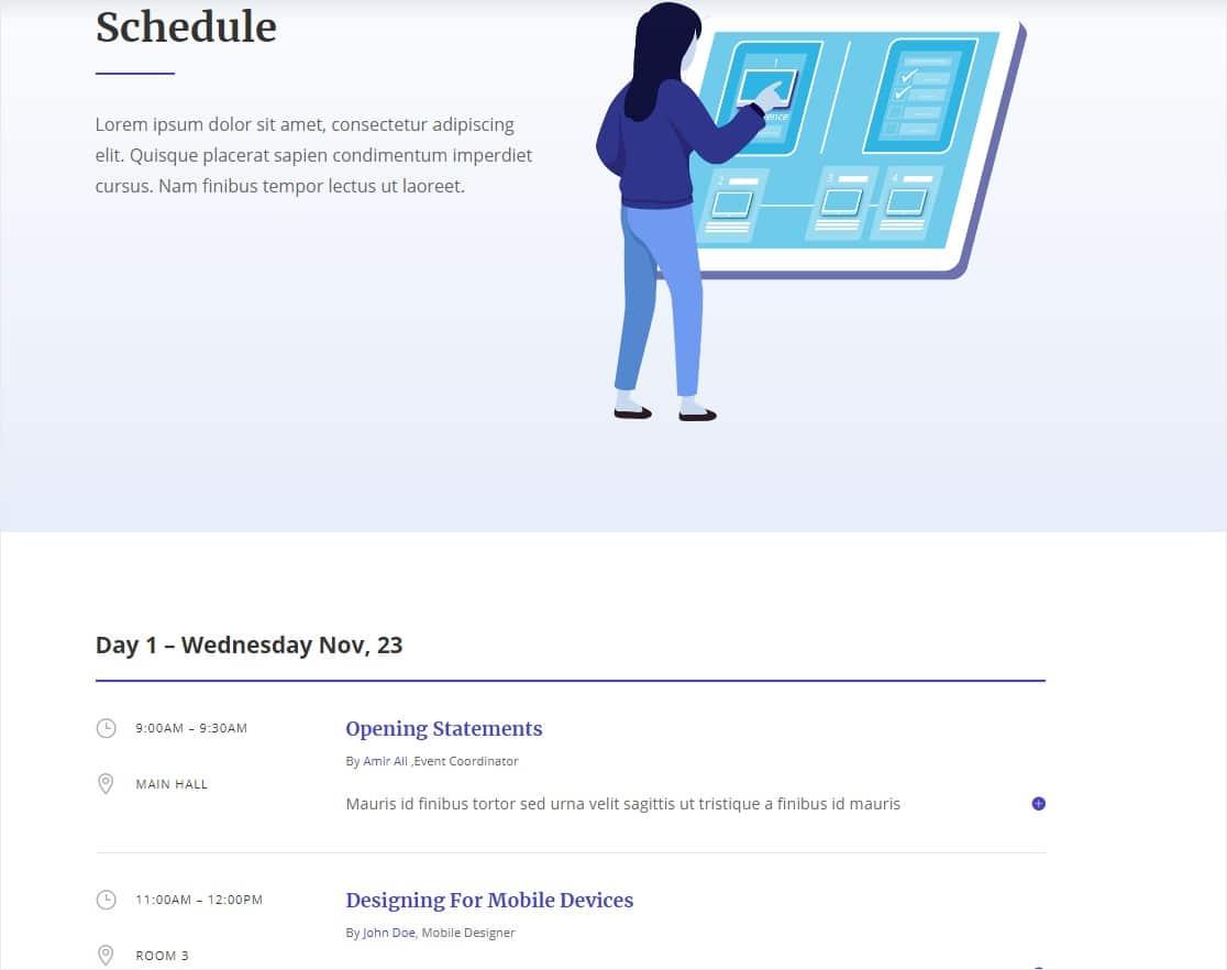 divi design conference layout