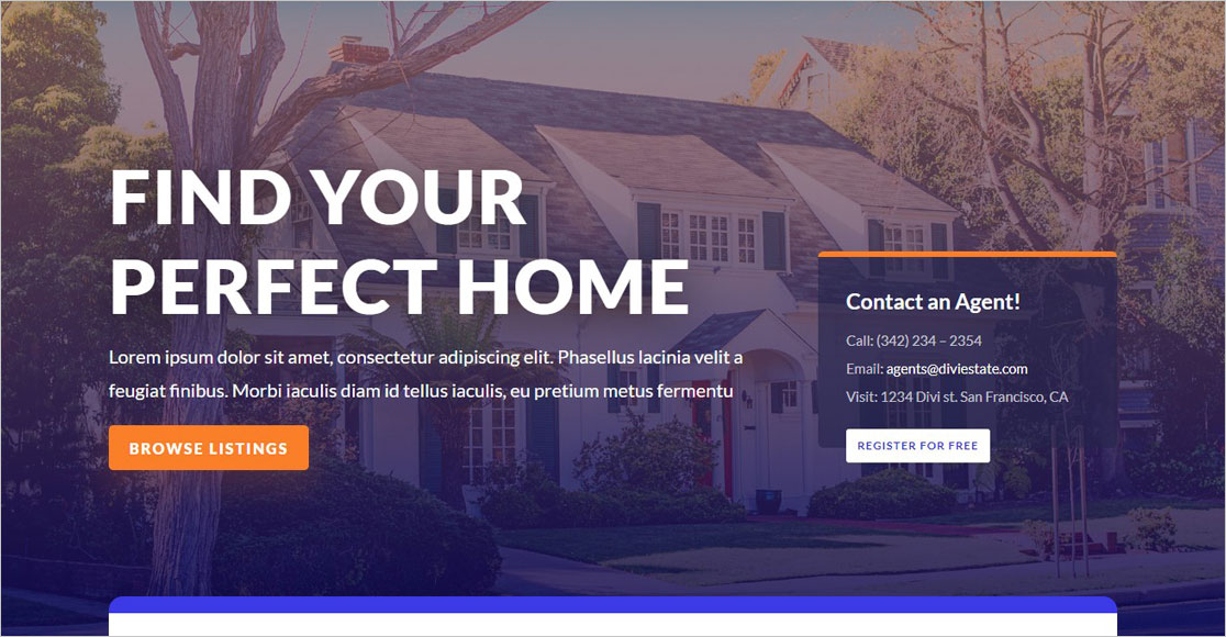 Divi WordPress Real Estate Theme