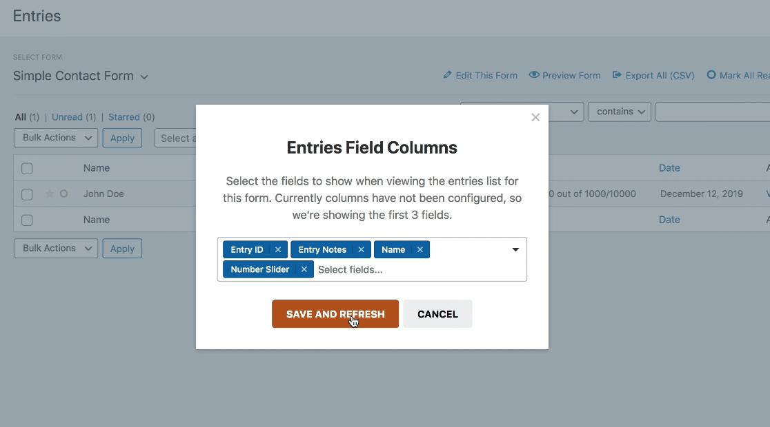 entries field columns customize