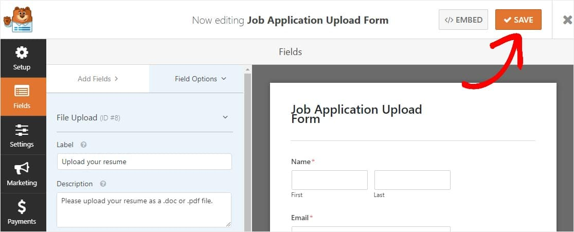 save job application form