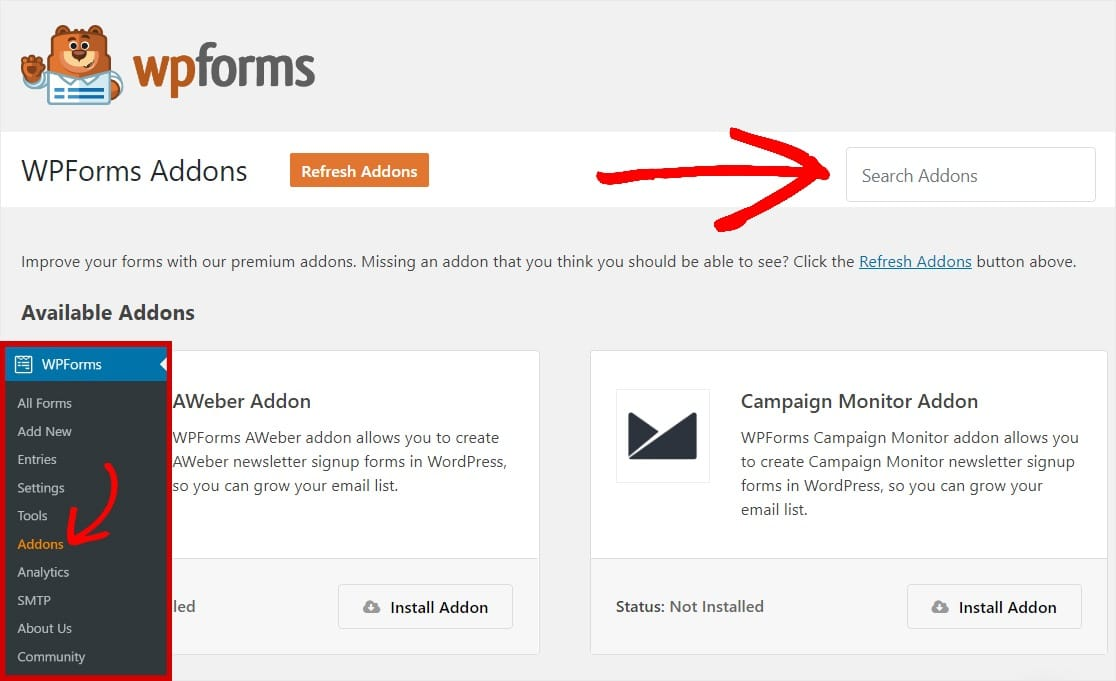 search wpforms addons