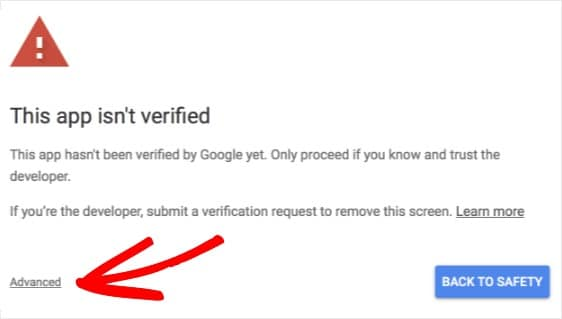 this app isn't verified error how to fix