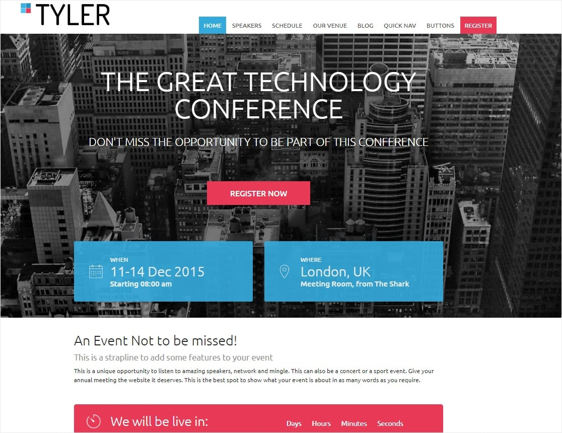 tyler event wordpress theme for conferences